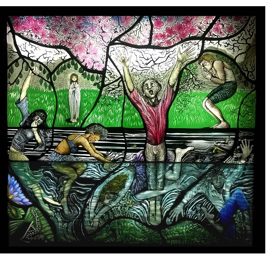 Pinkie Maclure:'The River' 2017, Stained Glass, 25 x 23 ins