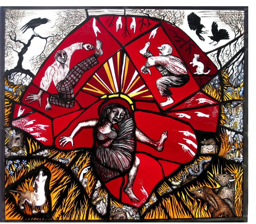 Pinkie Maclure: 'Landfill Tantrum' 2013, Stained Glass, 23 x 21 ins