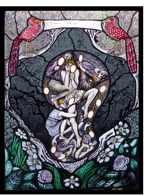 Pinkie Maclure: 'Look Out' 2013, Stained Glass, 25 x 35 ins