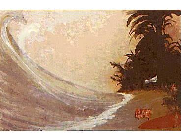 Ralph Steadman: 'Hazardous Surf' - watercolour, gouache & ink, 22 X 30 ins