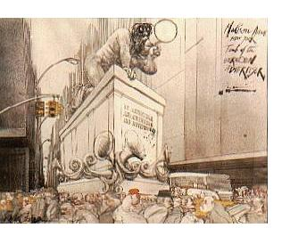 Ralph Steadman: 'Tomb of the Unknown Advertiser' - 1986, watercolour & ink, 23 x 33 ins