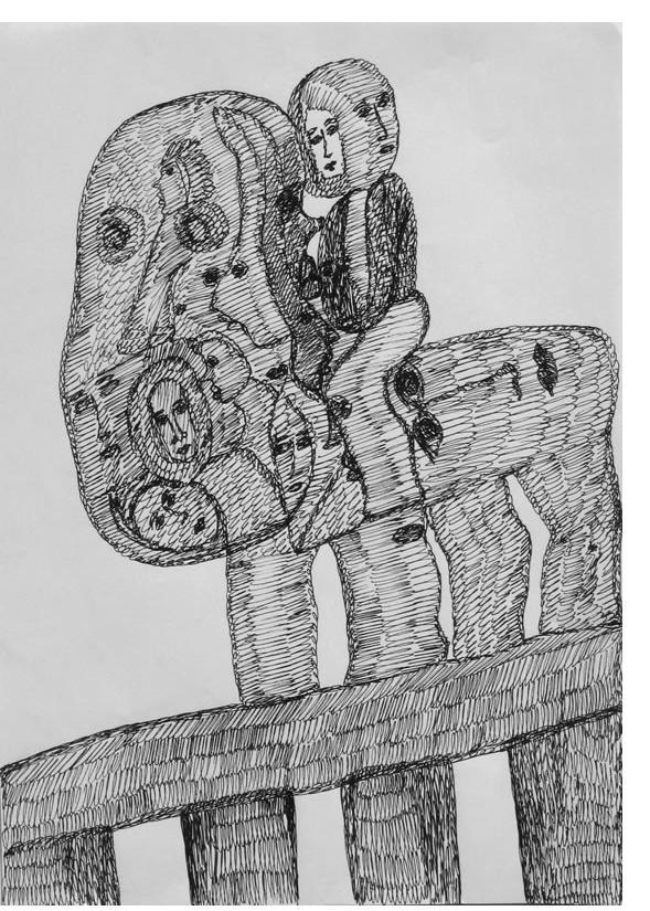 Mehrdad Rashidi :'Untitled'  ink  11.5 x 8 ins