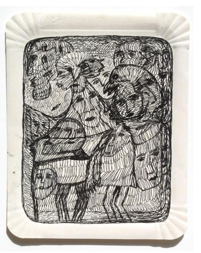 Mehrdad Rashidi :'Untitled'  ink on table mat 8.5 x 6.5 ins