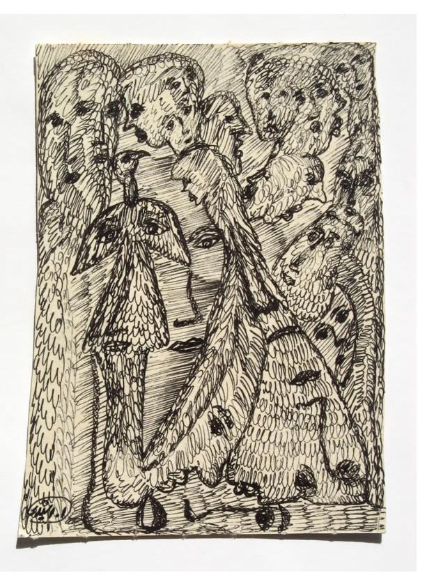 Mehrdad Rashidi :'Untitled'  ink 5.5 x 4 ins