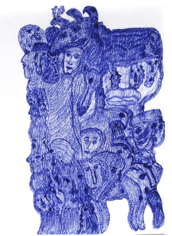 Mehrdad Rashidi :'Untitled'  blue ink  5.25 x 4 ins