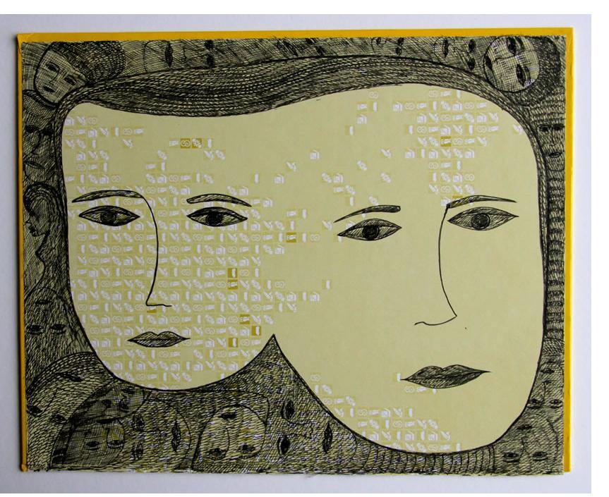 Mehrdad Rashidi :'Untitled' 2015  ink on found card  9 x 11 ins