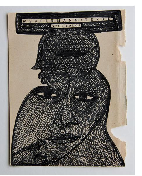 Mehrdad Rashidi :'Untitled' 2015  ink on found paper  5.5 x 4 ins