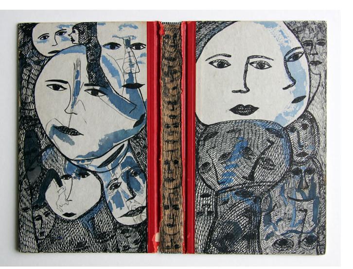 Mehrdad Rashidi :'Untitled' 2015  ink on book jacket sleeve  7.75 x 10 ins
