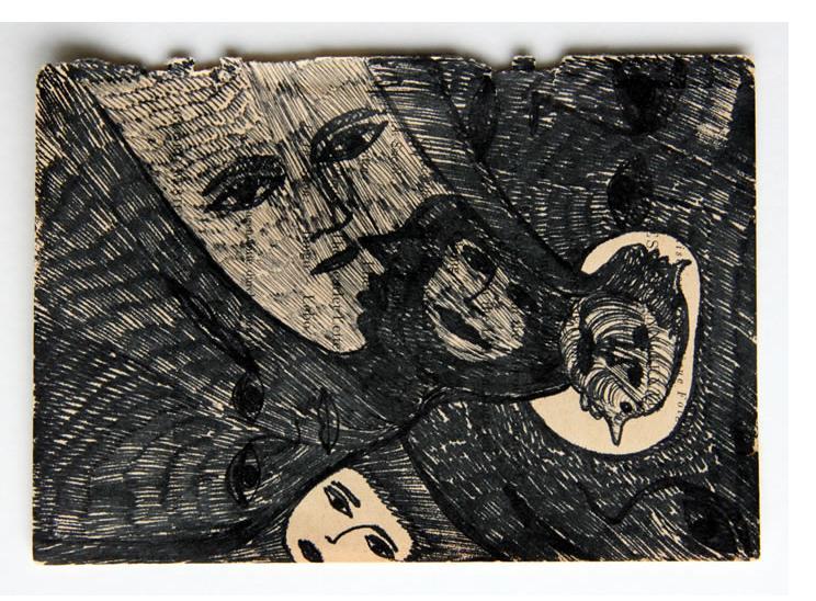 Mehrdad Rashidi :'Untitled' 2015  ink on found paper  5.75 x 4 ins
