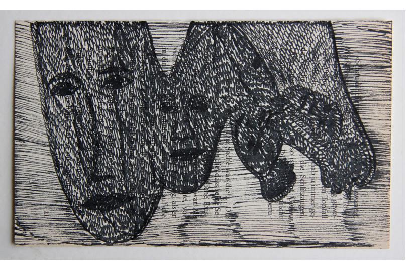 Mehrdad Rashidi :'Untitled' 2015  ink on found paper  3.5 x 6 ins