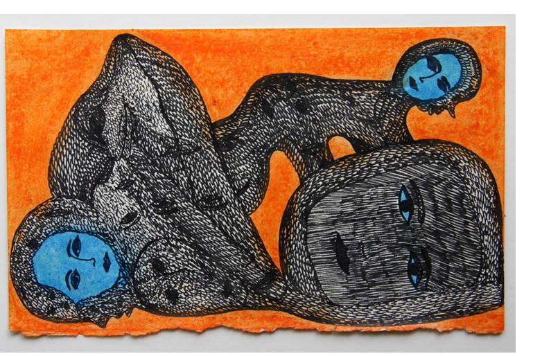 Mehrdad Rashidi :'Untitled' 2015  ink on found paper  7.5 x 4.75 ins