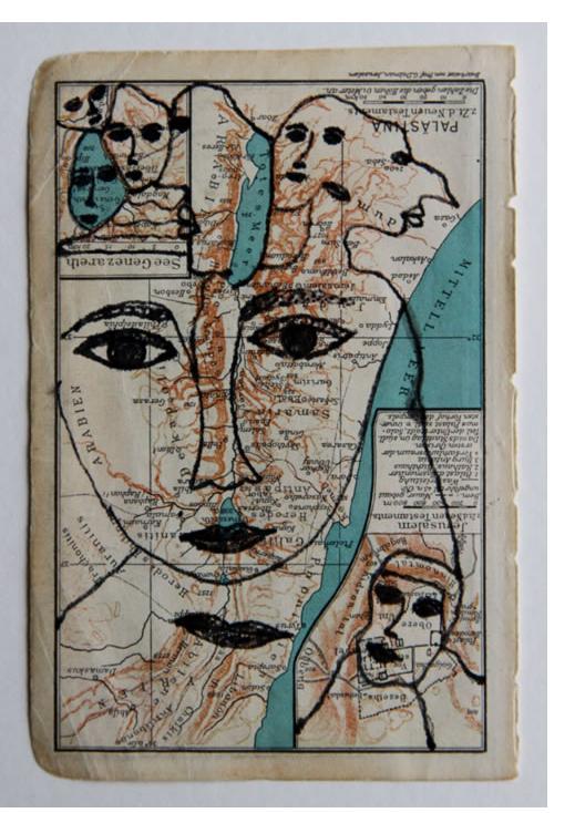 Mehrdad Rashidi :'Untitled' 2015  ink on found paper  4.5 x 3 ins