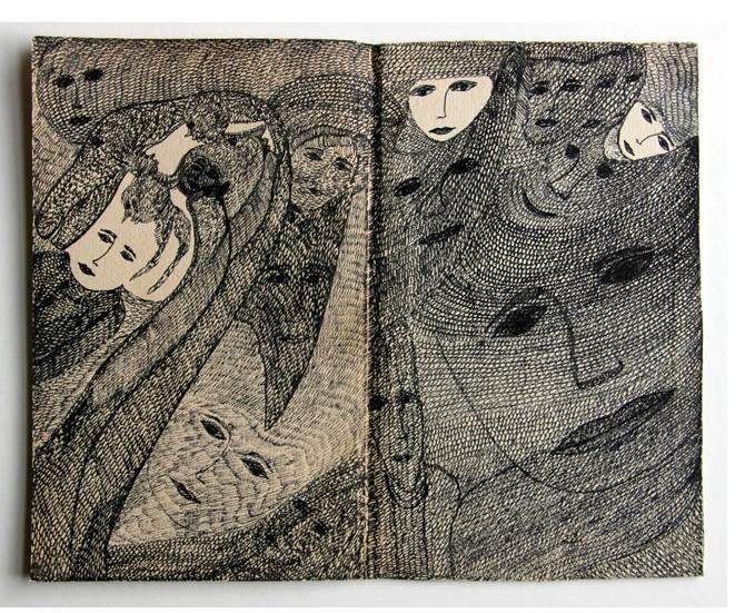 Mehrdad Rashidi :'Untitled' 2015  ink on book cover   7.75 x 9.75 ins