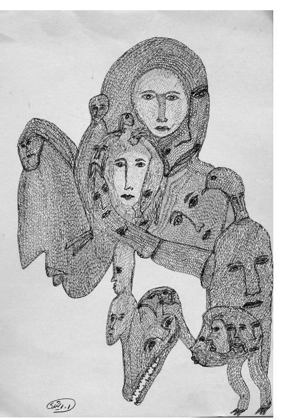 Mehrdad Rashidi :'Untitled'  ink  12.5 x 8 ins