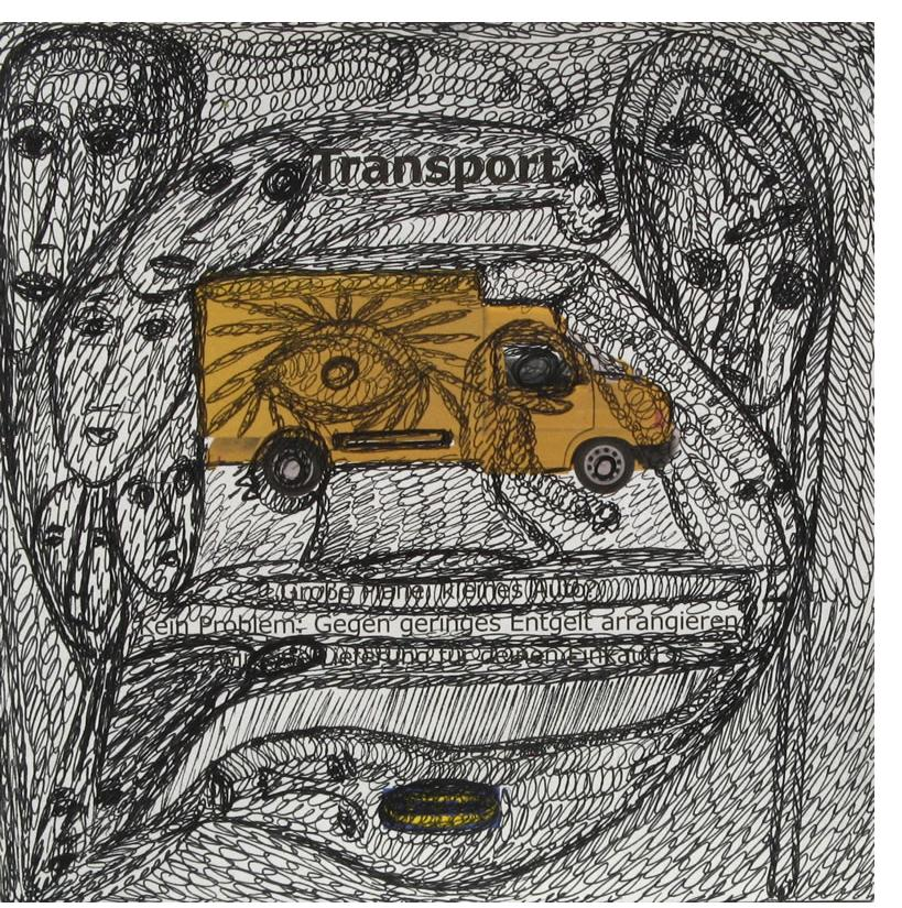 Mehrdad Rashidi :'Transport' ink  6 x 6 ins
