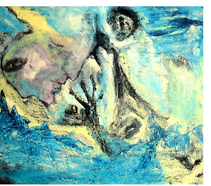 Jim Robb :'Dreaming' - oil on canvas, 32 x 36 ins - Outsider Art