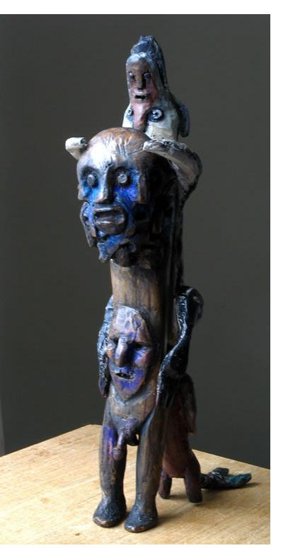 Richard Smith :'The Trickster' 2012  found wood height 11 ins‏