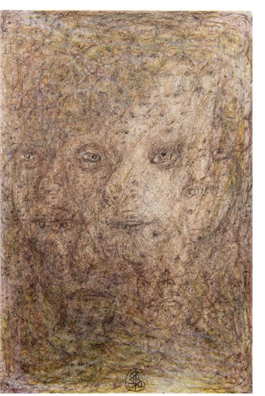 Richard Smith : 'Untitled' c.2012  pencil & crayon  9.5 x 6.5 ins