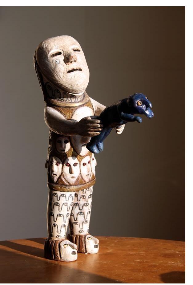 Richard Smith :'The Offering' 2013 found wood 20 ins high