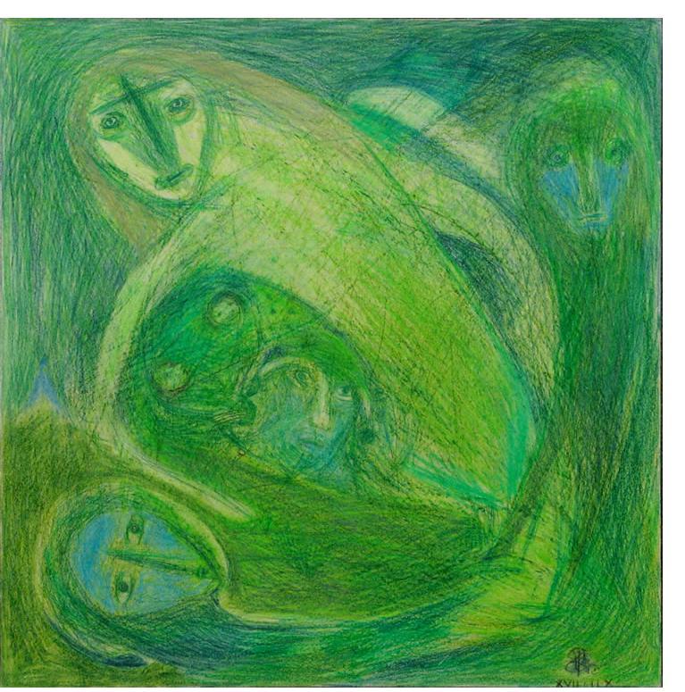 Richard Smith :'Untitled' crayon & wax crayon 19 x 19.5 ins