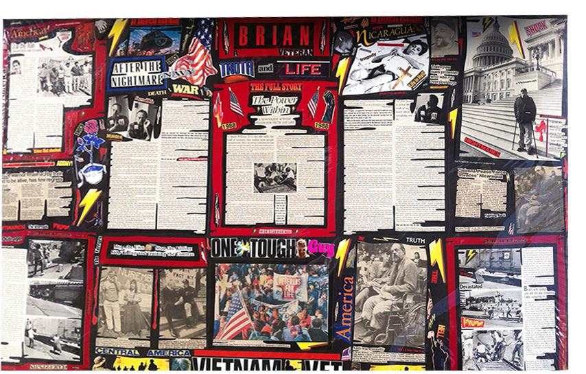 """Richard Saholt, """"Brian, Veteran, Truth and Life,"""" collage on cardboard, 44 x 28 inches"""