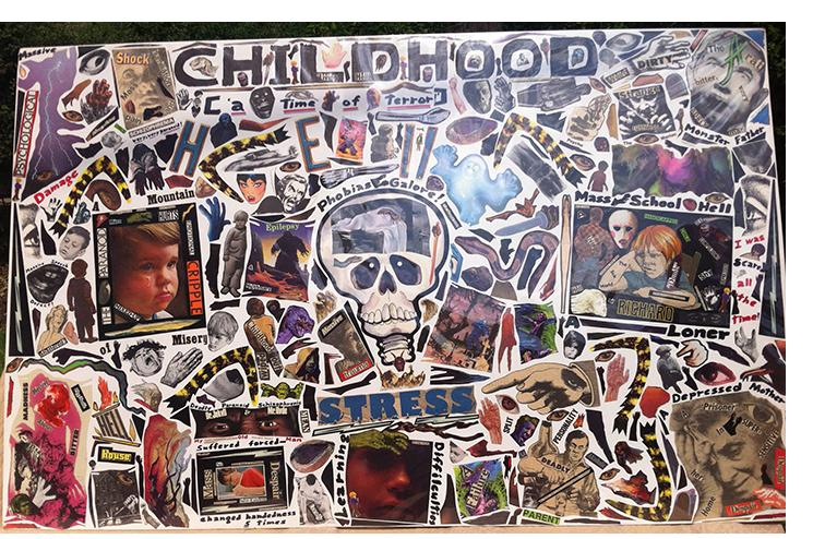 "Richard Saholt, untitled (""Childhood Living Hell, A Time of Terror""), plastic-coverd collage on cardboard, 44 x 28 inches, c. 1975-2000"