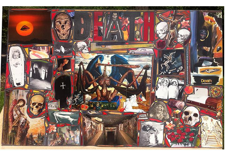 "Richard Saholt, untitled (""Death""), collage on cardboard, 44 x 28 inches, c. 1975-2000"