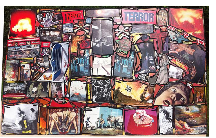 """Richard Saholt, untitled (""""I am become Death. The shatterer of worlds. Death, Terror""""), collage on cardboard, 44 x 28 inches, c. 1975-2000"""