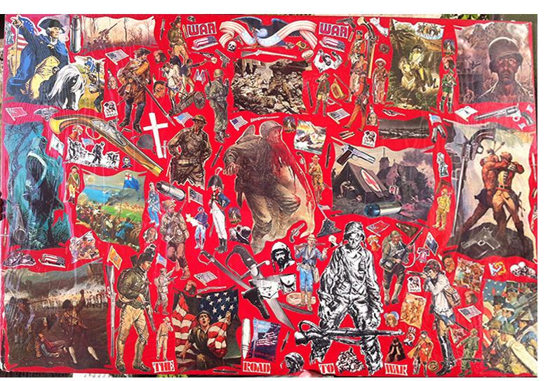 """Richard Saholt, """"The Road to War,"""" collage on cardboard, 44 x 28 inches"""