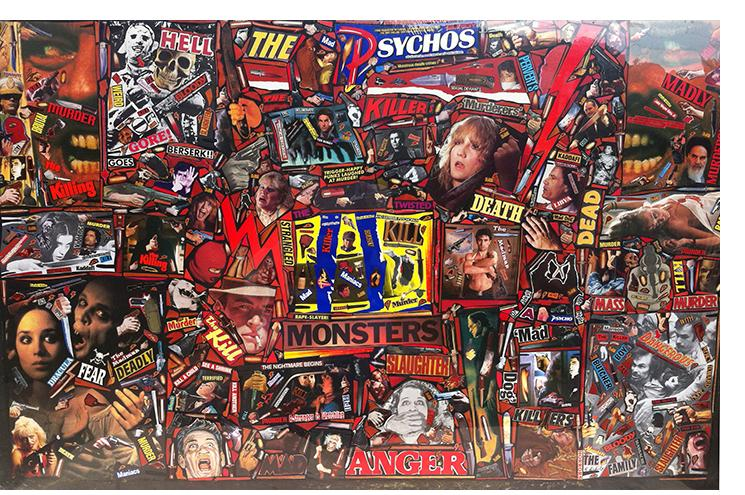 """Richard Saholt, untitled (""""Hell, The Mad Psychos""""), plastic shrink-wrapped collage on cardboard, 44 x 28 inch work mounted on 46 x 30 inch cardboard, c. 1975-2000"""