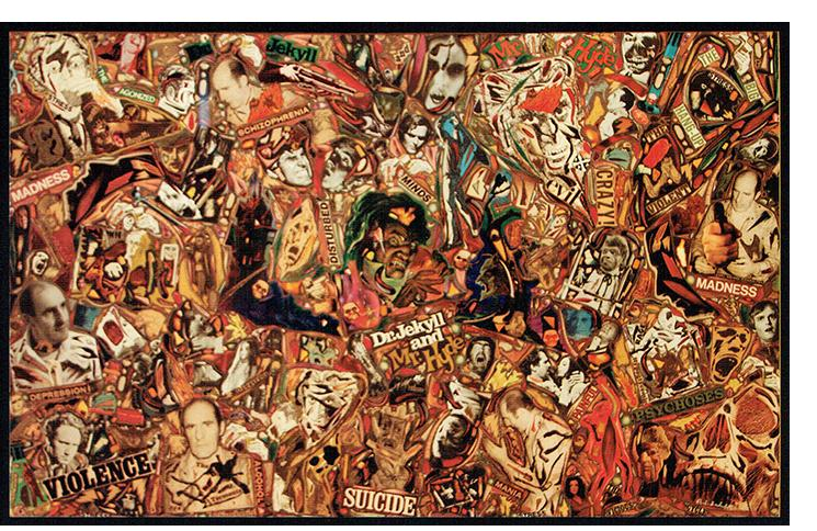 """Richard Saholt, untitled (""""Dr. Jekyll & Mr. Hyde""""), collage on cardboard, 42½ x 27½ inches (unframed), 49¾ x 34¼ inches (framed), recto"""