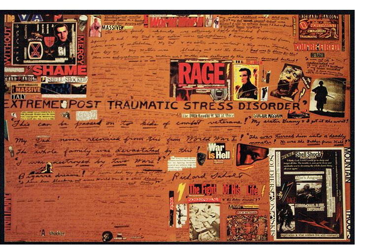 """4b Richard Saholt, """"Dr. Jekyll & Mr. Hyde,"""" collage on cardboard, 42½ x 27½ inches (unframed), 49¾ x 34¼ inches (framed), verso"""