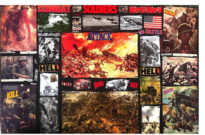 """Richard Saholt, """"Combat Soldiers World War II,"""" collage on cardboard, 44 x 28 inches"""