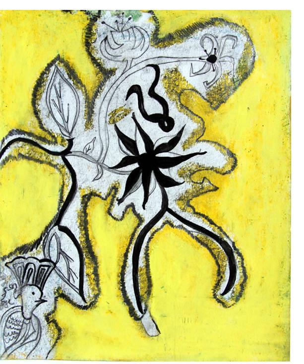 Salma :  'Untitled'  c.2010  mixed media on card  10 x 8 ins