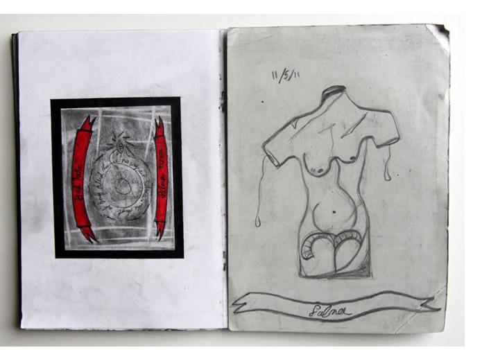 Salma : 'Untitled' 2011  pencil & ink  8 x 11.5 ins