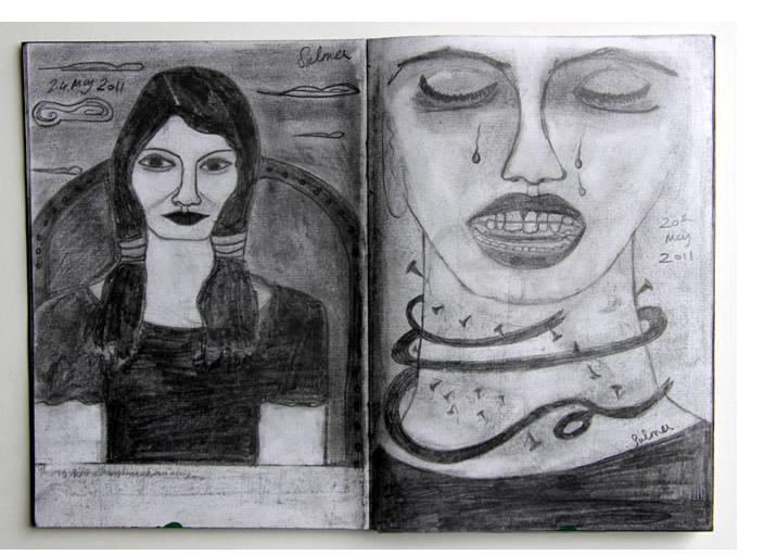 Salma :  'Untitled'  2011  pencil  8 x 11.5 ins