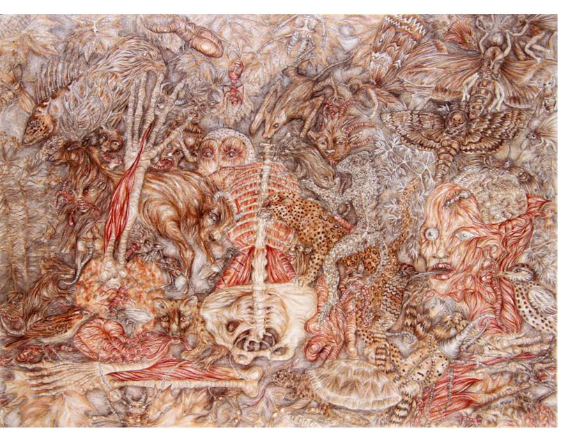 Stephanie Sautenet  'Untitled'  2015  crayon & pencil on paper  35 x 55 cm