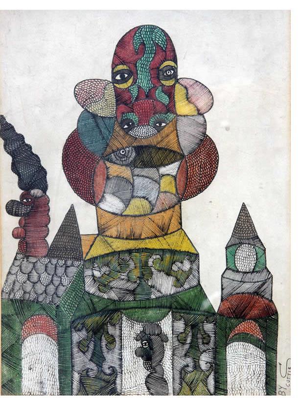 Scottie Wilson - 'Untitled' c.1941 ink & crayon 15 x 11 ins