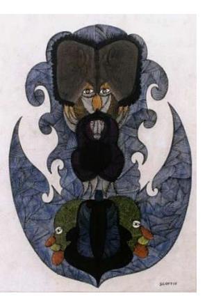 Scottie Wilson :'Untitled' - c.1946, watercolour + ink, 16.5 x 11 ins