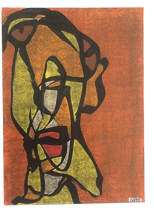 Gerard Sendrey: mixed media on card c.1995. approx 8.5 x 4.5 in