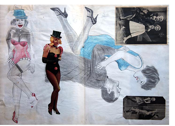 "Anon. Fetish Artist - ""Showgirls"" - 30 x 60cm"