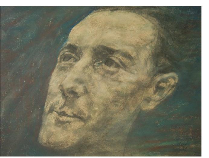Austin Spare - 'General Dealer', c.1948, pastel, 16 x 20 ins