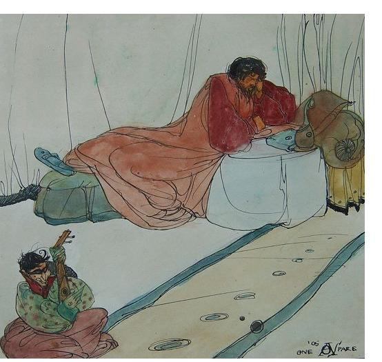 Austin Spare - 'Untitled', 1905, watercolour & ink, 6.5 x 6.5 ins. Illustrated p.30. 'Borough Satyr - The Life & Art of AOS'