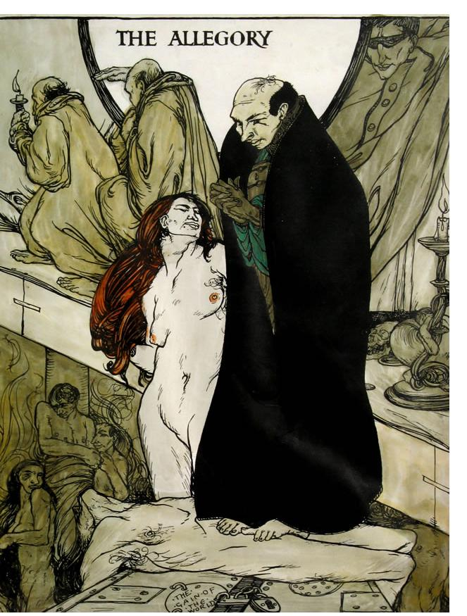 Austin Spare - 'The Allegory' 1904 ink & watercolour 11.5 x 9 in‏s