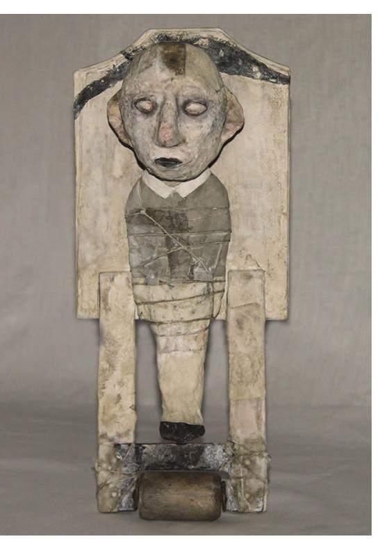 Stroff Denis : 'Ready to roll'  2011 Wood papier-mâché dyed cotton mixed media acryl paint 37 x 16 x 12 cm