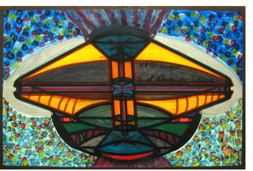 Ionel Talpazan  'UFO in Art' 2002 mixed media on board 20 x 30 ins