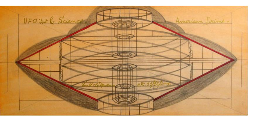 Ionel Talpazan  'UFO: At & Science - American Drime' 2001 pencil, crayon & gold ink, 10.5 x 20 ins
