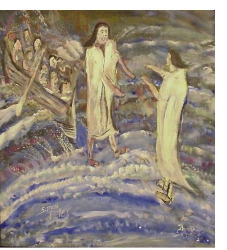 William Thomas Thompson :'Peter walking on water' - 36 x 36
