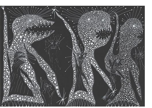 David Tibet - 'The Hobyahs Creep, Creep, Creeping… Run,Run, Running... Skip, Skip, Skipping… III' (white ink on black paper) 21.0 x 29.7cm,  8.27 x 11.69 inches
