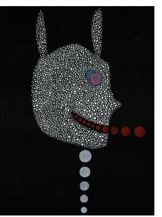 "David Tibet - ""I am Legion, Legion,"" He Said (coloured pencil and white ink on black paper) 29.7 x 42.0cm, 11.69 x 16.53 inches"